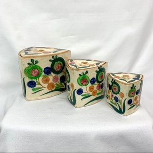Japanese ceramic painted Nesting containers Set 3